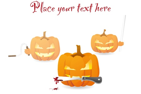 halloween ninja pumpkins with bloody knife Vector