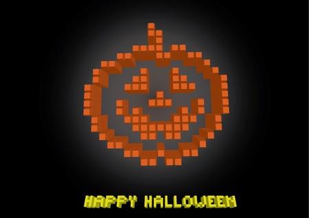 helloween: helloween pumpkin in pixels - illustration