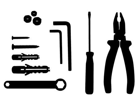 tuercas y tornillos: herramienta de hogar ilustración silueta