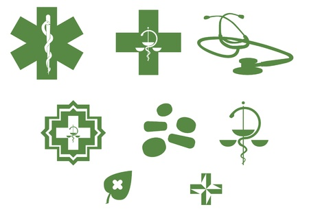 pharmacy icon: Medical symbols and stuff - green silhouette illustration Illustration
