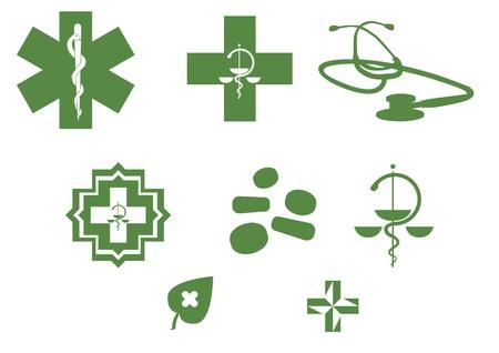 Medical symbols and stuff - green silhouette illustration