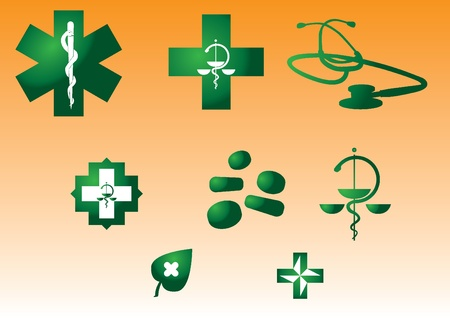 cross and wings: Medical symbols and stuff - green silhouette illustration Illustration
