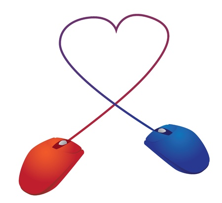 computer mouse:  two mice in love over the Internet - illustration