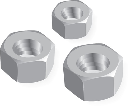 nut bolt: metal nuts realistic illustration Illustration