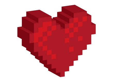 red heart: 3D Pixel red heart - illustration