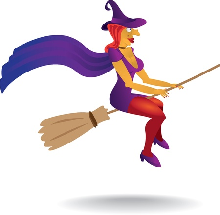 witch face: sexy witch with witch hat and broom