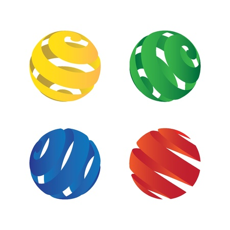 stripped: four stripped spheres - illustration