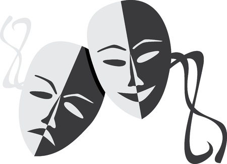 Theatre masks lucky sad - illustration Vector