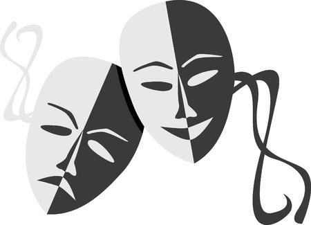 Theatre masks lucky sad - illustration Illusztráció