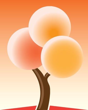 Autumn tree color illustration Vector