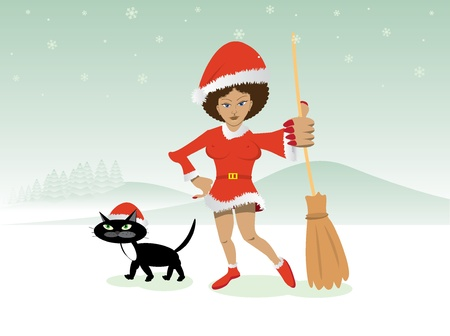 christmas witch in red dress with broom and black cat - illustration Stock Vector - 11496041