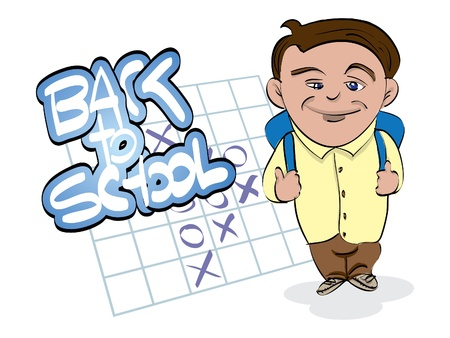 back to school theme with boy Vector