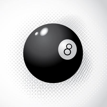 bola ocho: 8 Ball en el fondo de medios tonos - ilustración