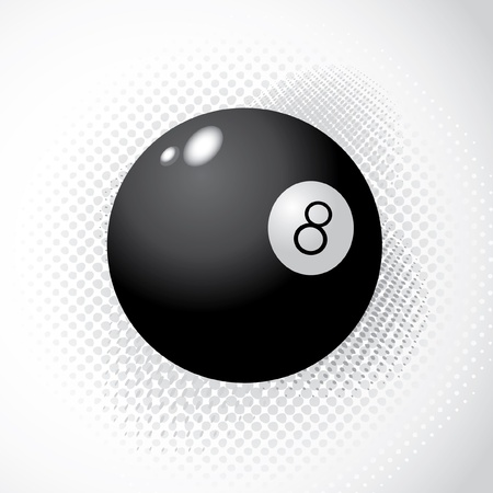 8 ball pool: Ball 8 on halftone background - illustration