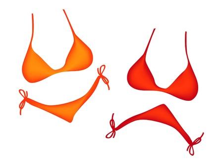 ni�as en bikini: Teatro m�scaras bikini afortunados y triste - ilustraci�n Vectores