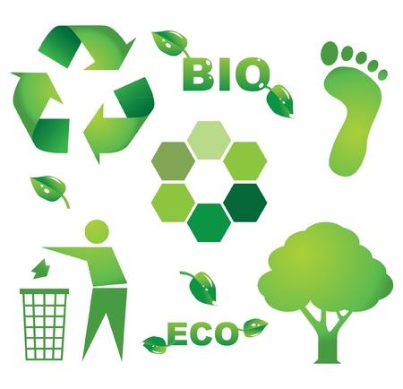 bio eco icon symbols - illustration Vector
