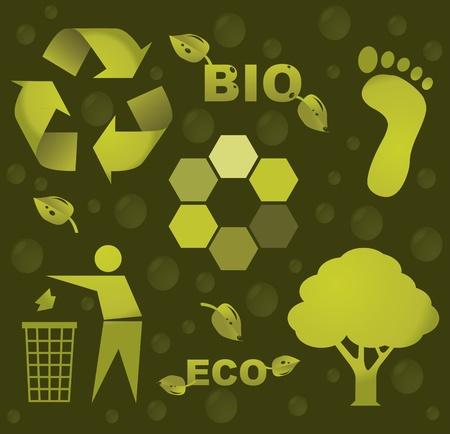 bio eco icon symbols - silhouette illustration Vector