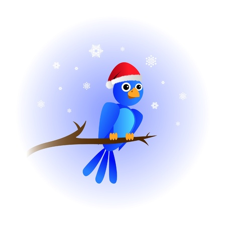 bird on tree with chrismas hat - illustration Vector