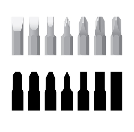 screwing: Screw-drivers bit in line isolated - realistic and silhouette illustration