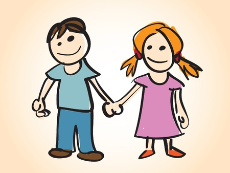 kids holding hands: cartoon boy and girl - illustration