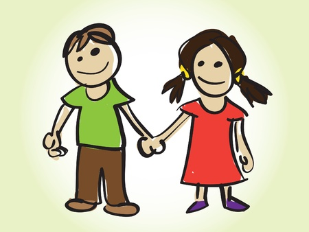 girls holding hands: cartoon boy and girl - illustration