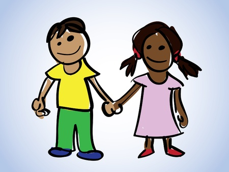 two children: cartoon boy and girl - illustration