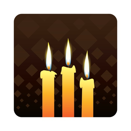 candles od dark background - realistic illustration Vector