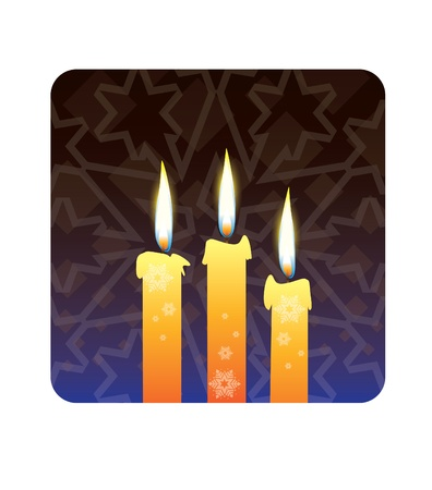 od: candles with snowflakes od dark background - realistic illustration Illustration