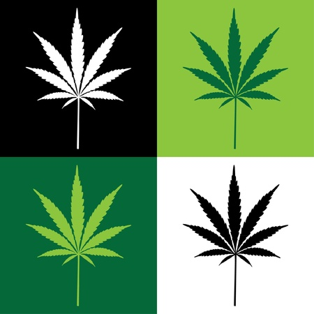 four cannabis leaf illustration Vector