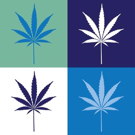 cannabis: vier Cannabis-Blatt, Abbildung Illustration