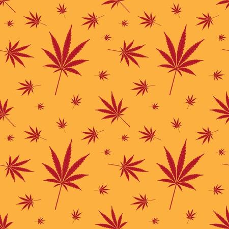 hemp: seamless cannabis leaf pattern - illustration