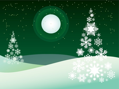 snowy hill: winter outdoor theme - illustration