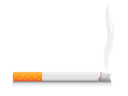 lit: eps8 vector isolated smoking cigarette - detailed realistic illustration
