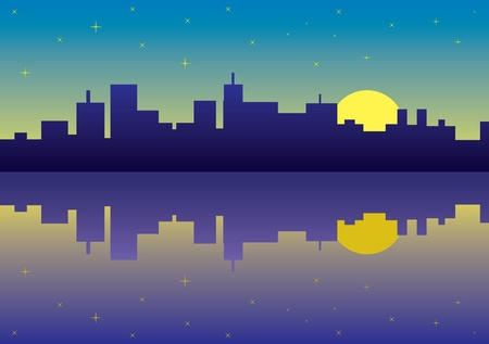 sea side: night city panorama picture - illustration