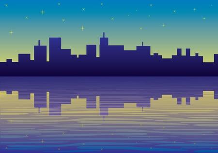 metropolitan: night city panorama picture - illustration