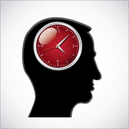 clocks in head - illustration Vector