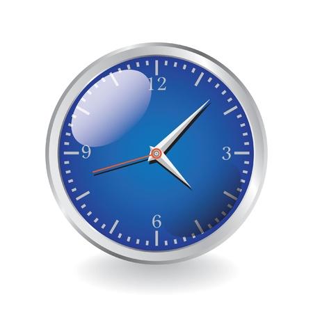 reloj de pared: modernos relojes de metal brillante - ilustraci�n realista