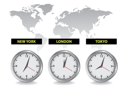 world time clock Vector
