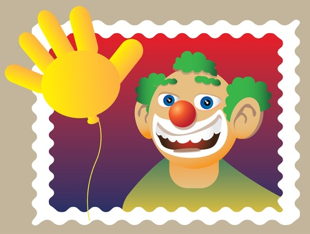 doodle clown in stamp - illuatration Stock Vector - 11496395