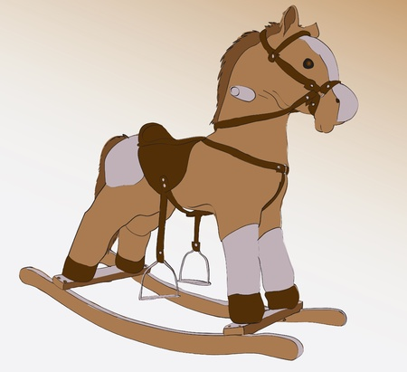 cockhorse child toy closeup illustration Vector