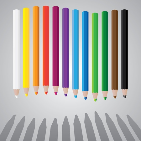 drawing color pencils in wave - illustration Vector