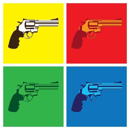 warhol: revolver in pop-art style - illustration