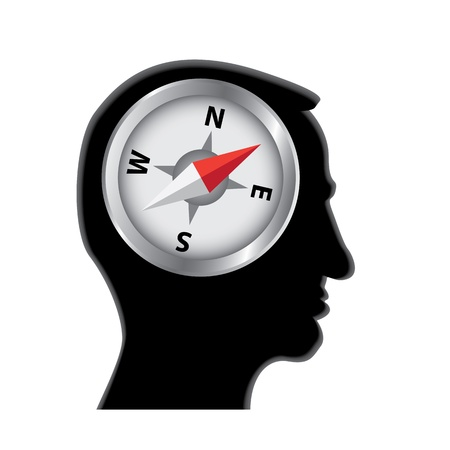 head silhouette: compass in head silhouette illustration Illustration