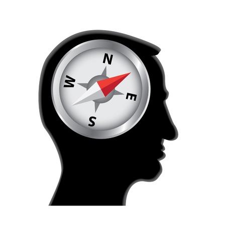 compass in head silhouette illustration Stock Vector - 11496368