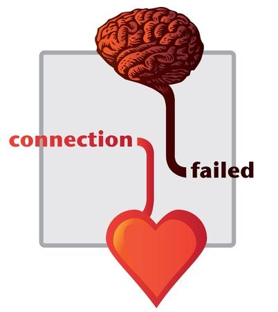 cerebro blanco y negro: conexión entre el corazón y el cerebro no - ilustración