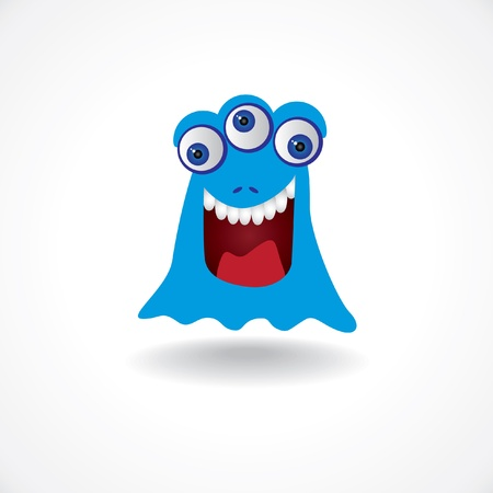 funny monster: blue creature monster with three eyes - illustration Illustration