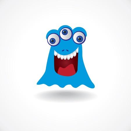 blue creature monster with three eyes - illustration Ilustracja