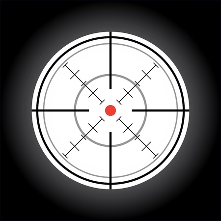 gun sight: crosshair with red dot - illustration