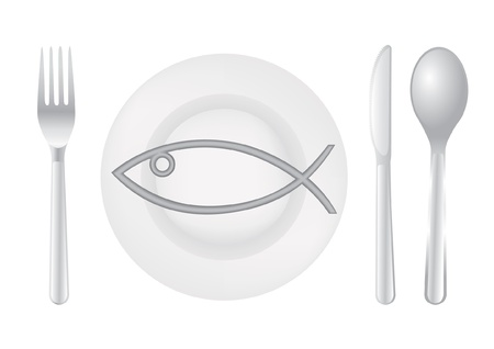 Cutlery spoon knife fork fish plate - illustration Vector