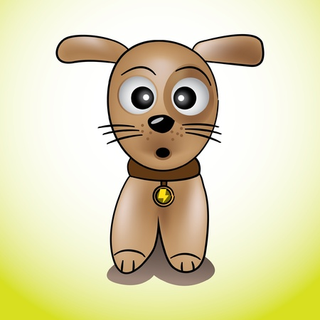 dog kennel: cute puppy wags its tail illustration